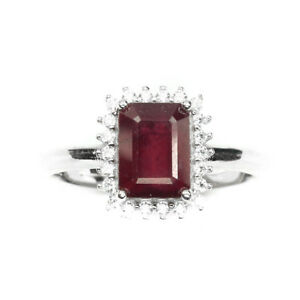 Octagon Red Ruby 8x6mm White Cz 14k White Gold Plate 925 Sterling Silver Ring