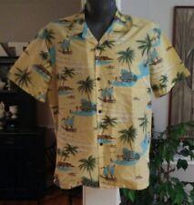 Mens KOKO HEAD Yellow L Short Sleeve Hawaiian Aloha Shirt Outrigger Palm Trees