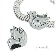 Antique Sterling Silver Peace Bird Dove Charm Bead Fit European Bracelet #51945