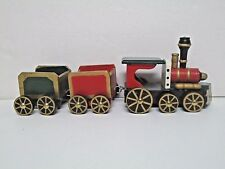 "Wood Christmas Train Set (Kirkland's) 3 Piece 11"" Long IOB"
