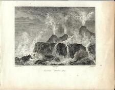 Stampa antica VESUVIO eruzione del 1822 Napoli 1834 Old antique print Engraving