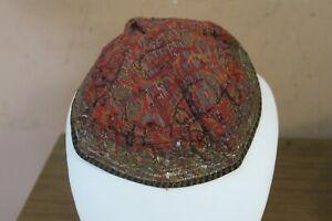 Antique Persian Paisley Shawl Hand Woven Textile Skull Cap Metallic Embroidery