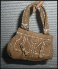 PURSE  BARBIE DOLL MODEL MUSE ANNA SUI BOHO TAN FAUX SUEDE SHOULDER HANDBAG