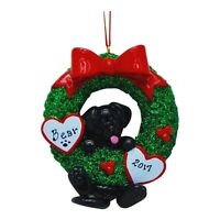 PERSONALIZED Dog Ornament Cute Black Lab Puppy In Christmas Wreath Ornament Gift
