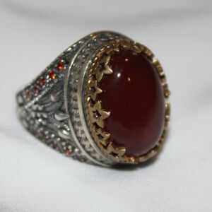 Red Aqeeq Agate Men's Ring Size 9.5 Sterling Silver 925 خاتم عقيق احمر فضة ٩٢٥