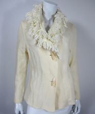 A. GIANNETTI LONG SLEEVE CARDIGAN SWEATER JACKET SIZE S SMALL SOLID IVORY