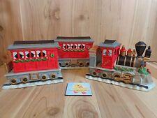 CHRISTMAS TRAIN Figurine Set of 3 with Lights Ceramic Engine Car Caboose Holiday