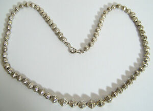 Southwestern Silver Fluted Graduated Beads Necklace vintage