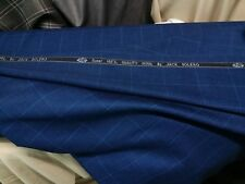 Navy Blue wool Suiting Fabric Suit pants Jacket blazer Windowpane box check