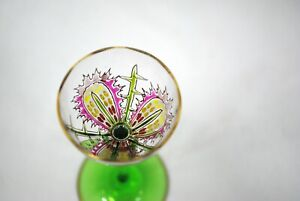 Theresienthal Meyrs Neff Bohemian Art Glass Enamel Cordial Stem Stemware