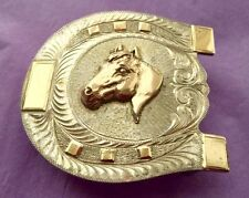 Vintage Sterling Silver & Gold **WESTERN SILVERSMITHS HORSESHOE BELT BUCKLE**