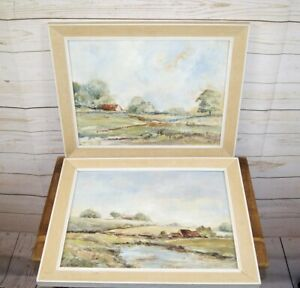 2 x Modern Oil on Canvas Impressionistic Landscape Paintings in Hessian Frames