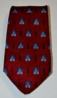 ROBERT TALBOTT FORDS Dark Red Blue Gray Black Patterned 100% Silk Neck Tie USA