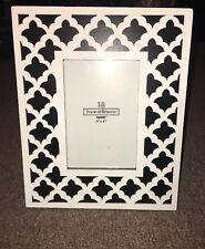 "Black & White Lattice Lace Wood 4""x 6"" Picture Frame"