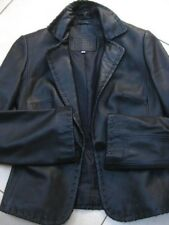 Ladies M&S short black real leather tailored JACKET COAT blazer size UK 8 6 tux