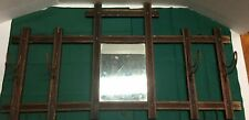 Antique Wood Hat Rack With Mirror with Wire Hooks Wall Hanging