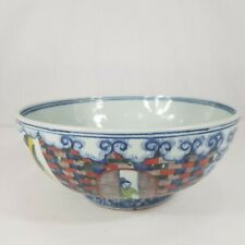 20th Century Chinese Hand Painted Bowl Warriors Sages Etc. 25cm Diameter