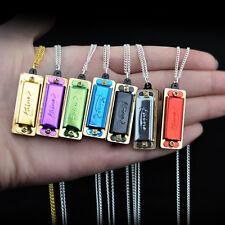 Fashion 1x mini 4Hole 8 Tone Harmonica Necklace Jewelry Cute Children music Gift