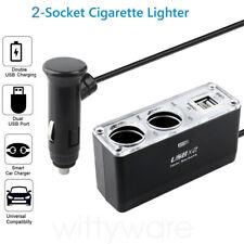 Car Cigarette Lighter 12V Power Splitter 2 USB Charger Ports 2 Sockets Adapter