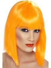Short Neon Orange Straight Wig, Glam Wig With Fringe, Fancy Dress Accessory.