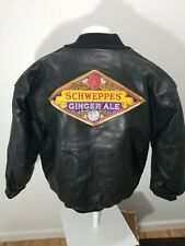 NWT Vintage Embroidered Schweppes jacket  Leather DeLong  Jacket XL Super Rare