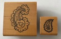 2 Paisley Design Elements Rubber Stamps JRL Design Wood Mounted