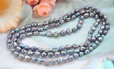 Genuine 7-8mm Natural Black Freshwater Cultured Baroque Pearl Necklace 36''
