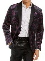 INC Men's Blazer Black Purple Size XL Velvet Floral Slim-Fit Two-Button $149 034