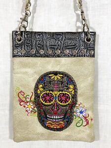 Human Skull Embroidered Floral Crossbody Messenger Bag Beige Tribal Rhinestones