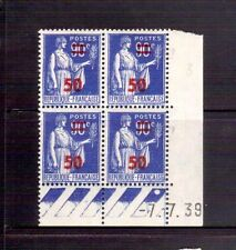 FRANCE 1940 50 on 90 blue block of four MUH