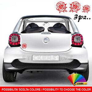 Kit 3 adesivi Fiore - Rosa auto moto scooter M.18 decal vinyl rose flower heart