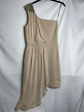 Miss Selfridge Nude Chiffon drape One Shoulder Grecian Cocktail Dress UK 12