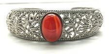 Sterling Silver Cabochon Red Carnelian Dotted Swirl Pattern Cuff Bangle Bracelet