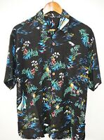 Sailboats Cocktails Pineapples Volcanos Black Hawaiian Shirt Mens Size Medium