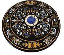 """36"""" round black Marble Table Top Inlay floral art handmade decor craft Work"""