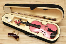 Student Beginner Acoustic Violin Size 4/4 Maple Case Bow PINK Color