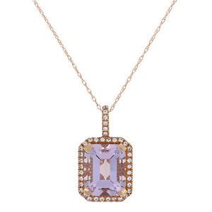 "NEW 4.90ctw Amethyst & White Topaz Pendant Necklace 18"" - 10k Rose Gold Halo"