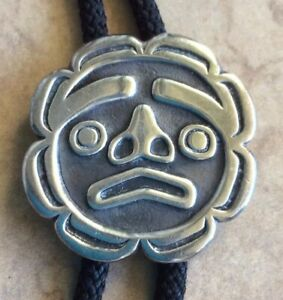Northwest Coast First Nations Haida Signed Sterling Sun Moon Face Bolo Tie