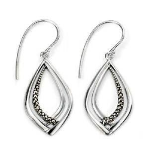 Elements Silver Marcasite Crossover Drop Earrings, Hook, E4898