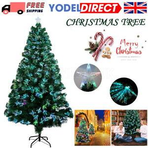 3/5/6/7FT Pre Lit Fiber Optic Artificial Christmas Tree LED Lights Xmas Decor UK