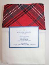 NWT $99 WILLIAMS SONOMA HOME Red TARTAN BORDER Linen Blend EURO Sham