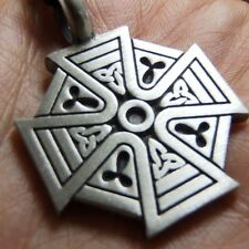 Charm with Cotton Necklace #131 Silver Celtic Knot Cros Pewter Pendant