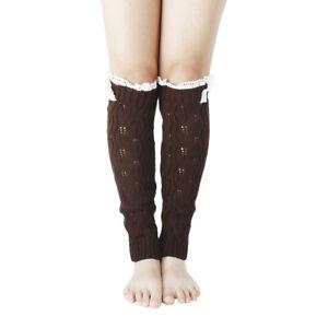 Fashion Women Knit Crochet High Knee Leg Warmers Leggings Winter Warm Boot Socks