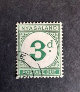 Nyasaland stamp postage due 1950 3d green used