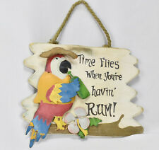 """Vintage Colorful Tiki Bar Wood Sign Metal Parrot Palm Trees Painted 10"""" x 10"""""""