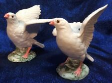A Pair of Simple Vtg Porcelain Bisque Doves - Ones a Child Would Get For Granny