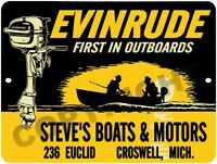 """Vintage Reproduction Evinrude Outboard Motor Repair 9"""" x 12"""" Aluminum Sign"""