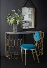 Gold Console Table Metal Glass Furniture Vintage Hallway Dressing Modern Side