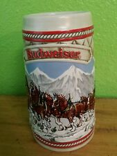 1985 A Series Budweiser Anheuser-Bush Clydesdales Holiday Beer Stein Mug Snow