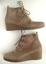 Lucky Brand Tan Suede Leather Lace Up Boots Wedge Heel SZ 7.5 M